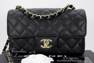 CHANEL 17C Black Caviar Rectangle Mini Classic Lt Gold Hw #23548975