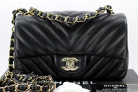 CHANEL 17B Black Chevron Rectangle Mini Flap Lt Gold Hw #24451891 *New