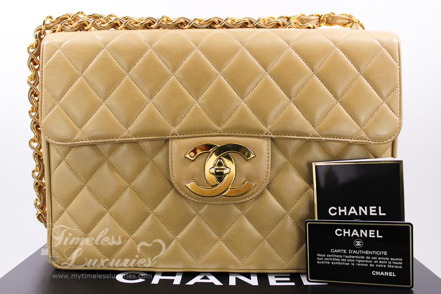 54c308ce3a38 CHANEL Beige Lambskin Vintage Jumbo Classic Flap Bag Gold Hw #3354508 -  Timeless Luxuries