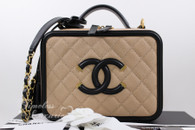 CHANEL Beige/ Black Caviar CC Filigree Vanity Case Bag Gold Hw #24869558 *New