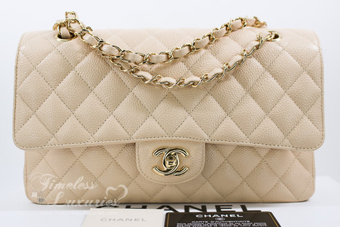 cdb74c3d69f72 ... CHANEL Beige Clair Caviar Classic Double Flap Bag Gold Hw  13997904.  Image 1