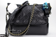 CHANEL 2017 Gabrielle Medium Hobo Black Calfskin Mixed Hw # 24151583 *New