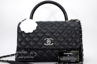 CHANEL 2017 Black Caviar/ Lizard Coco Handle Bag RHW #23492586 *New
