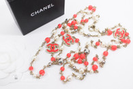 CHANEL Coral Pink CC Pearl Long Necklace Gold & Silver Tone Hw *New