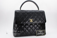 CHANEL Black Caviar Quilted Jumbo Kelly Flap Bag Gold Hardware #8084794