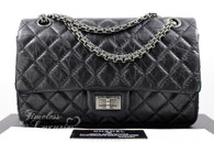 CHANEL Black Aged Calf 2.55 Reissue Flap Bag 225 Ruthenium Hw #15800597
