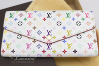 LOUIS VUITTON Monogram Multicolore Sarah Wallet White/ Blanc #CT4104
