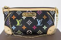 LOUIS VUITTON Pochette Milla MM Monogram Multicolore Noir #AA4173
