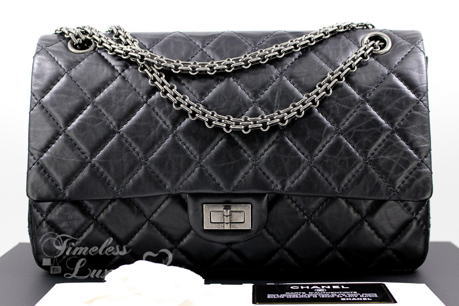 b16fbd30bcf6 CHANEL Black Aged Calf 2.55 Reissue 226 Flap Bag Ruthenium Hw  16890192 -  Timeless Luxuries