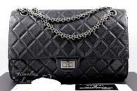 CHANEL Black Aged Calf 2.55 Reissue 226 Flap Bag Ruthenium Hw #16890192