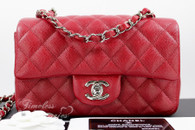 CHANEL 17B Dk Red Caviar Rectangle Mini Flap Silver Hw #24580255 *New