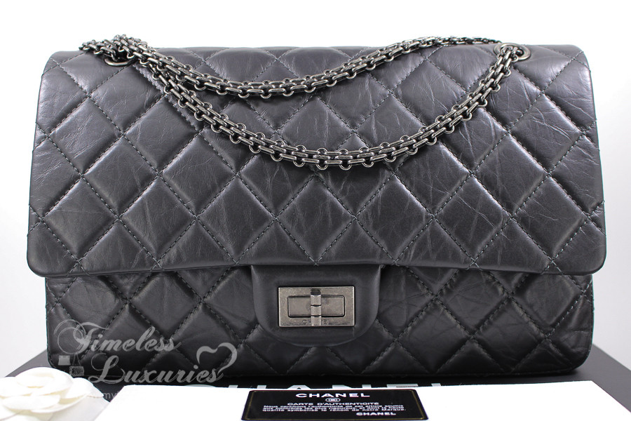 acd8faa6636f CHANEL Dk Grey Aged Calf 2.55 Reissue 227 Ruthenium Hw #16509655 *New - Timeless  Luxuries