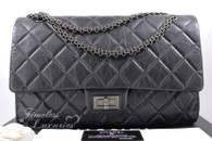 CHANEL Dk Grey Aged Calf 2.55 Reissue 227 Ruthenium Hw #16509655 *New