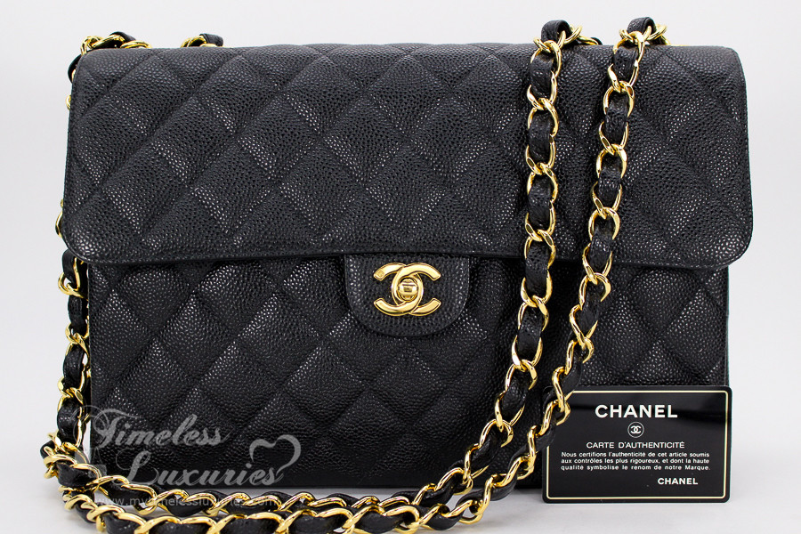 4a29c9b465c2 CHANEL Black Caviar Vintage Jumbo Classic Flap Bag Gold Hw  6682484 -  Timeless Luxuries