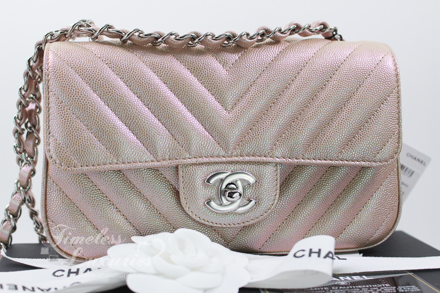 db3be64aabf5 CHANEL 17B Light Gold Chevron Caviar Rectangle Mini Flap #24xxxxxx *New -  Timeless Luxuries