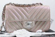 CHANEL 17B Light Gold Chevron Caviar Rectangle Mini Flap #24xxxxxx *New