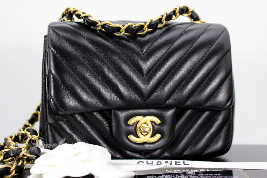 06c5d99b07f6 CHANEL Black Chevron Square Mini Classic Matte Gold Hw #21010856 - Timeless  Luxuries