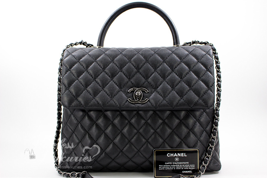 d61fdf7f5aa4ba CHANEL Black Caviar Large Coco Handle Bag Ruthenium Hw #22073324 *New -  Timeless Luxuries