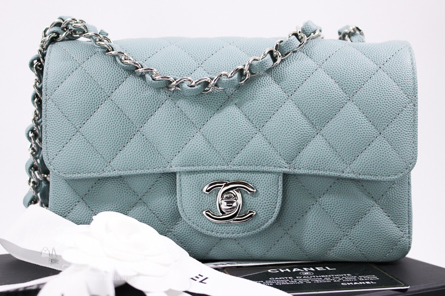 7d89256cce22 CHANEL 18C Light Blue Caviar Rectangle Mini Silver Hw #25xxxxxx *New -  Timeless Luxuries