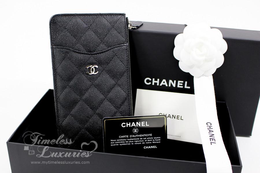 CHANEL 18C Flat Zip Wallet  Phone Holder Silver Hw  25xxxxxx  New -  Timeless Luxuries 48d988591e7a5