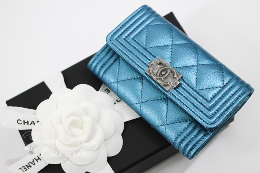 CHANEL Turquoise Caviar Boy Card Holder  Coin Wallet  24xxxxxx  New -  Timeless Luxuries 626ea679fab1b