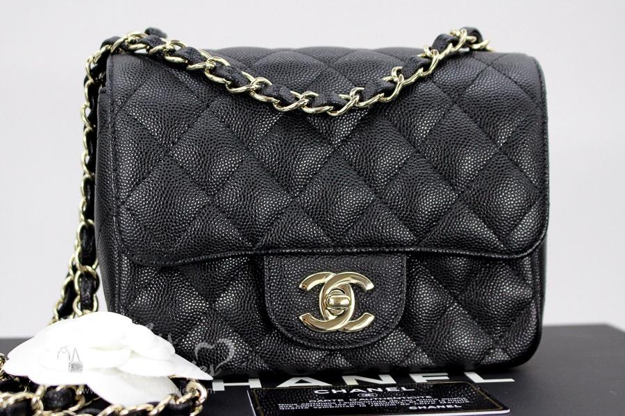 b7d1d91946b4 CHANEL 17C Black Caviar Square Mini Classic Flap Lt Gold Hw #23510599 -  Timeless Luxuries