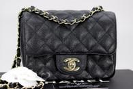 CHANEL 17C Black Caviar Square Mini Classic Flap Lt Gold Hw #23510599