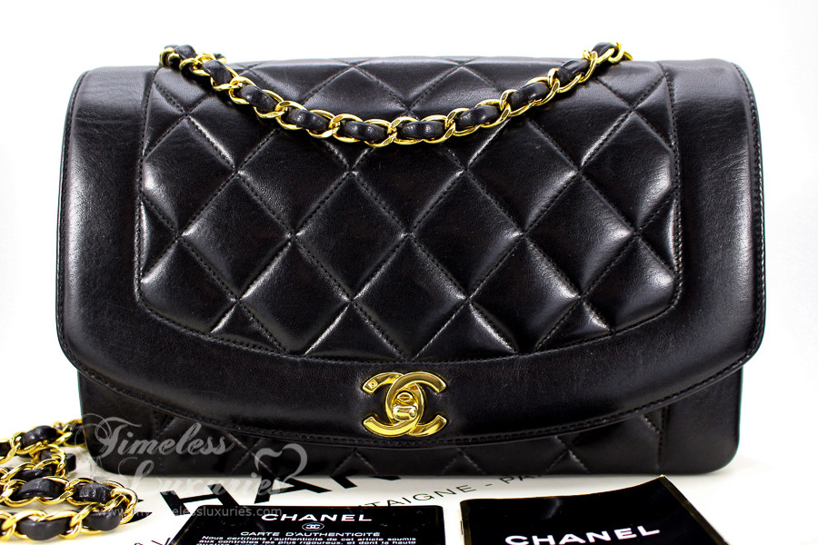 bad00ef8d20 CHANEL Black Lambskin 'Vintage Chic' Diana Flap Bag Gold Hw #3423786 -  Timeless Luxuries