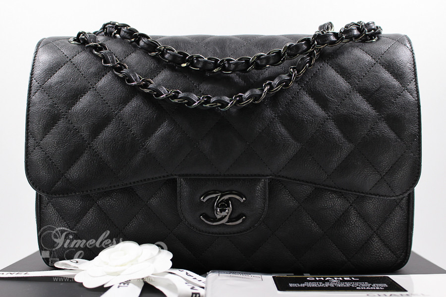 648bf6a3a4cf01 CHANEL 'So Black' Crumpled Calf Jumbo Classic Double Flap Bag #24008872  *New - Timeless Luxuries