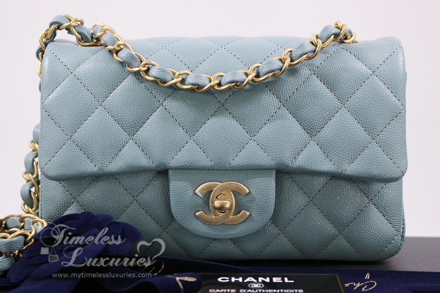 10d73bb3c8d291 CHANEL 18C Lt Blue Iridescent Caviar Rectangle Mini GHW #25xxxxxx *New -  Timeless Luxuries