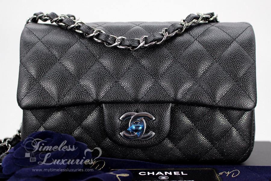 b665a39df7d2 CHANEL 18C Black Iridescent Caviar Rectangle Mini Flap Bag #25xxxxxx *New -  Timeless Luxuries