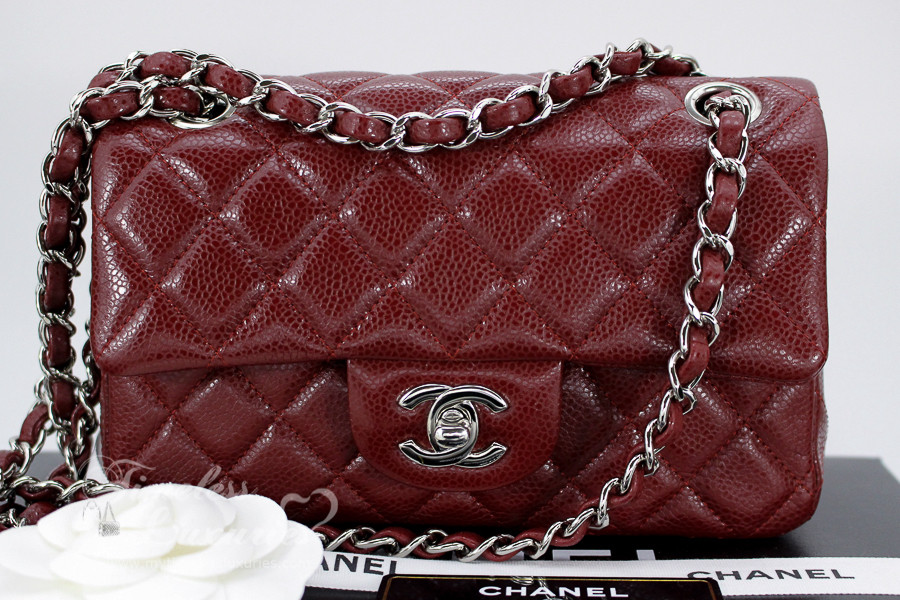 6cf96c17a3e7 CHANEL Burgundy Caviar 4-Grommet Rectangle Mini Silver Hw #15477314 *New - Timeless  Luxuries