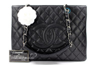 CHANEL Black Caviar Grand Shopping Tote GST Silver Hw #20156645 *New