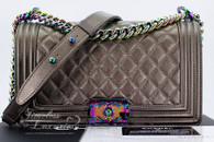 CHANEL 16C Bronze Iridescent Goatskin Boy Flap Rainbow Hw *21627723