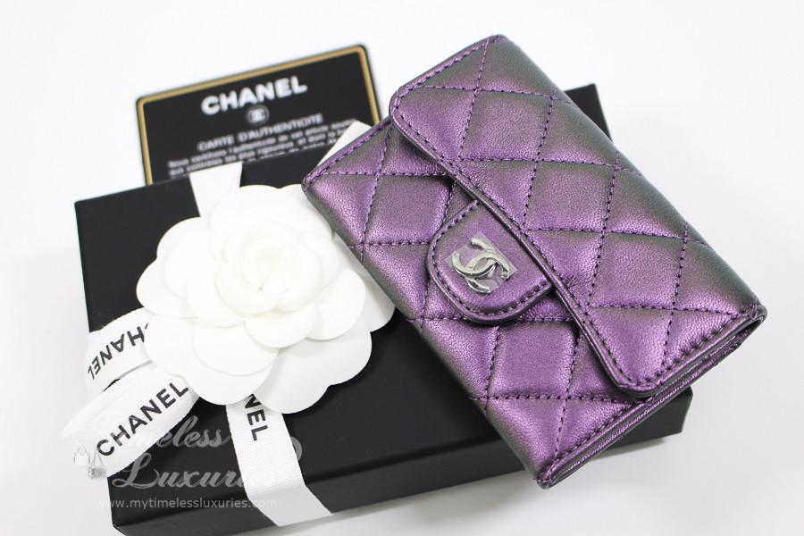 e907f0532fcd CHANEL Purple Iridescent Card Holder/ Coin Wallet #24xxxxxx *New - Timeless  Luxuries
