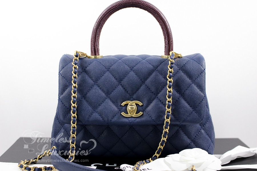 5143bae3af9d99 CHANEL Navy Blue Caviar/ Lizard Mini Coco Handle Gold Hw #24407271 *New -  Timeless Luxuries