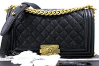 CHANEL 17C Black Caviar Quilted Boy Flap Bag GHW #23464086 *New
