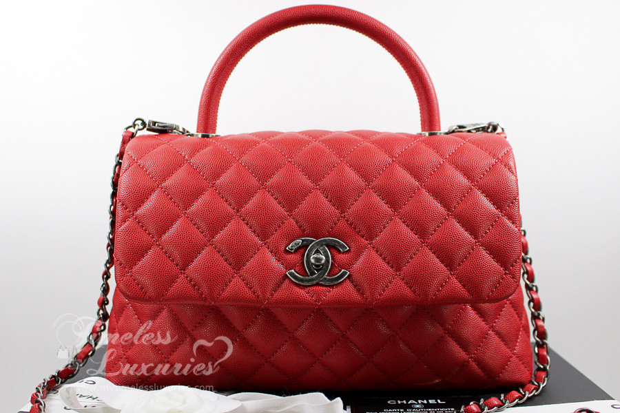 dfad61b03c95 CHANEL 17C Red Caviar Coco Handle Ruthenium Hw #23492545 *New - Timeless  Luxuries