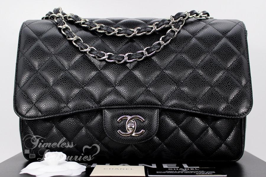 62dd0d0e228a CHANEL Black Caviar Jumbo Classic Single Flap Silver Hw #13651228 ...