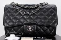 CHANEL Black Caviar Jumbo Classic Single Flap Silver Hw #13651228