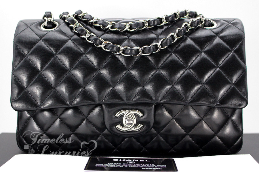 888a6ab7e4ee7b CHANEL Black Lambskin Classic Double Flap Bag Silver Hw #13881628 - Timeless  Luxuries
