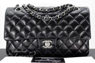 CHANEL Black Lambskin Classic Double Flap Bag Silver Hw #13881628