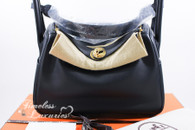 HERMES Lindy 26 Verso Bleu Indigo/ Orange Poppy Swift Gold Hw *New