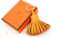 HERMES Carmen Tassel Key Ring Charm Bouton D'or/ Crevette/ Orange *New