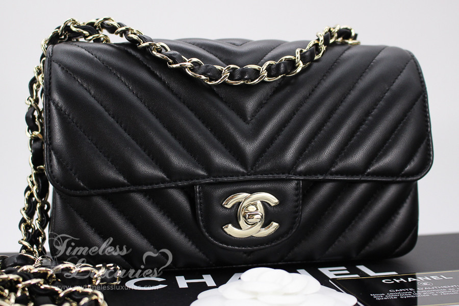 8304d192858f CHANEL 17C Black Chevron Rectangle Mini Flap Lt Gold Hw #23549447 *New -  Timeless Luxuries