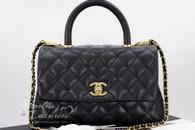 CHANEL Black Caviar Mini Coco Handle Flap Bag Gold Hw #24xxxxxx *New