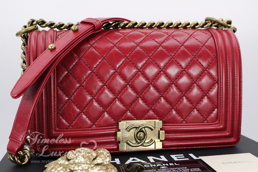 deb8a462fa8017 CHANEL Red Calfskin Quilted Boy Flap Bag Gold Hardware #17608869 - Timeless  Luxuries