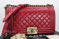 CHANEL Red Calfskin Quilted Boy Flap Bag Gold Hardware #17608869