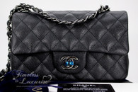 d4713d9702f9 CHANEL 18C Black Iridescent Caviar Mini Rectangle Flap Bag #25xxxxxx *New