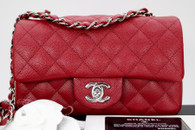 CHANEL 17B Dk Red Caviar Rectangle Mini Flap Silver Hw #24580491 *New